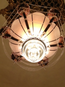 The Coleman Theater chandelier. You can't see the changing colors near the center....it is quite the thing!