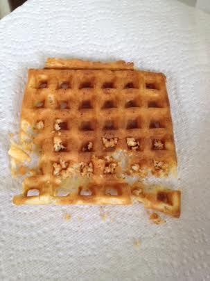I guess Mom doesn't love waffles as much as I do - I'm all done and she hasn't even sampled it....so odd.