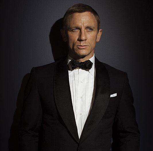 James Bond, wearing black tie.