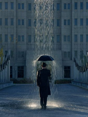"""In this picture, the rain shower is clearly short and quite localized. -Image courtesy of Pinterest; painting by Joseph Hancock called """"Man with Umbrella."""""""
