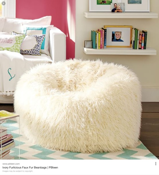 The ultimate in comfort - a nature-friendly furlicious faux fur white beanbag just waiting to be sat in.